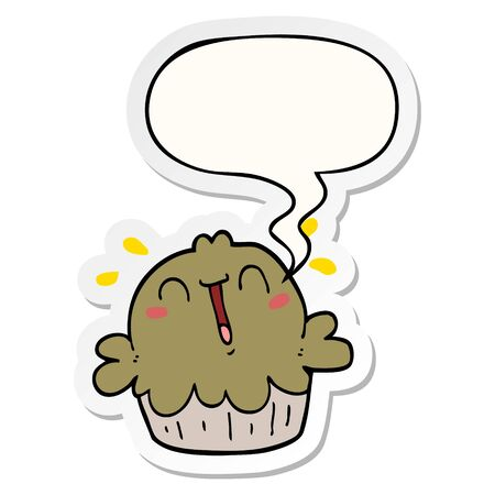 cute cartoon pie with speech bubble sticker