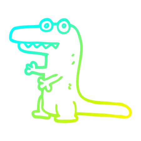 cold gradient line drawing of a cartoon crazy alligator