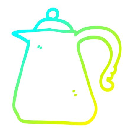 cold gradient line drawing of a cartoon kettle