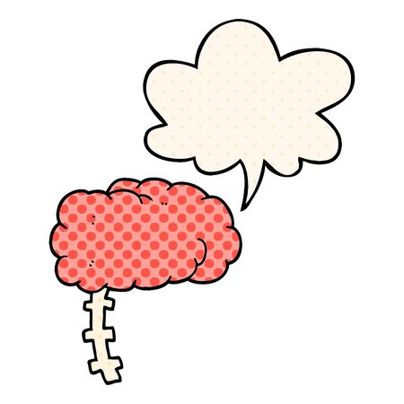 cartoon brain with speech bubble in comic book style
