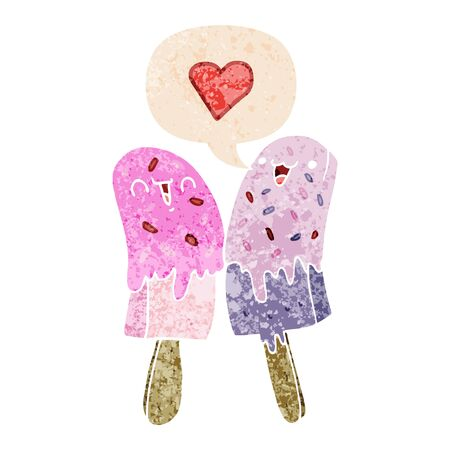 cartoon ice lolly in love with speech bubble in grunge distressed retro textured style Illusztráció