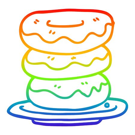 rainbow gradient line drawing of a cartoon plate of donuts