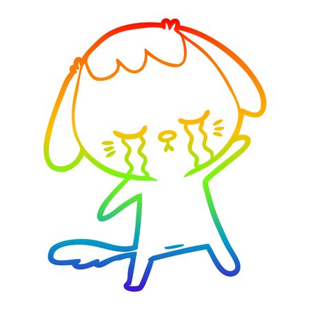 rainbow gradient line drawing of a cartoon crying dog