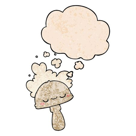 cartoon mushroom with spoor cloud with thought bubble in grunge texture style Stok Fotoğraf - 128748901