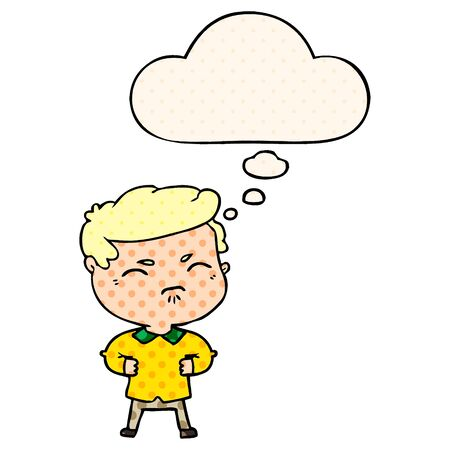 cartoon annoyed man with thought bubble in comic book style Illustration