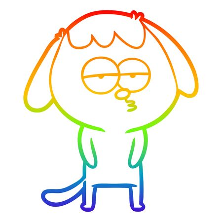 rainbow gradient line drawing of a cartoon tired dog