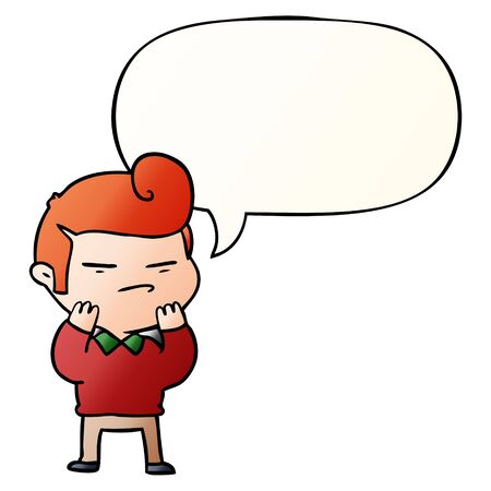 cartoon cool guy with fashion hair cut with speech bubble in smooth gradient style