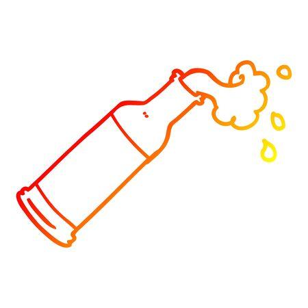 warm gradient line drawing of a cartoon foaming bottle