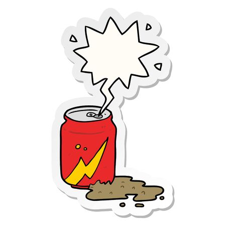 cartoon can of soda with speech bubble sticker