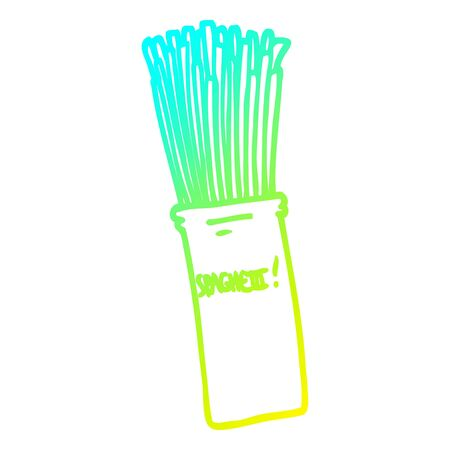 cold gradient line drawing of a cartoon  jar of spaghetti
