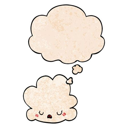 cute cartoon cloud with thought bubble in grunge texture style Illusztráció