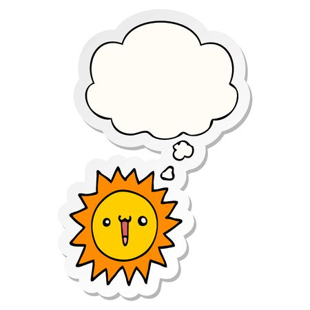cartoon sun with thought bubble as a printed sticker