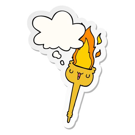 cartoon flaming torch with thought bubble as a printed sticker Ilustrace