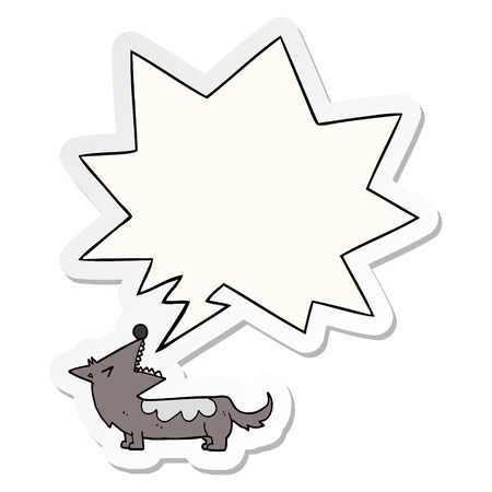 cartoon dog with speech bubble sticker  イラスト・ベクター素材