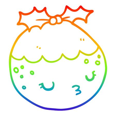 rainbow gradient line drawing of a cute cartoon christmas pudding