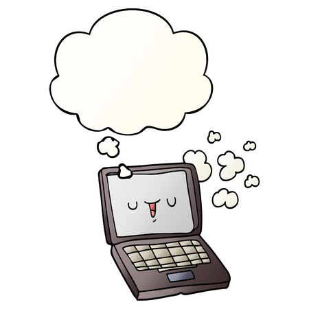 cartoon computer with thought bubble in smooth gradient style
