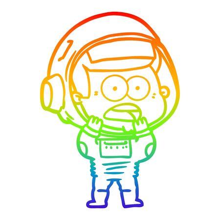 rainbow gradient line drawing of a cartoon surprised astronaut