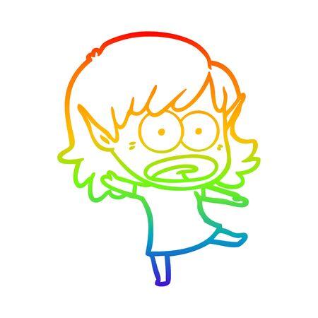 rainbow gradient line drawing of a cartoon shocked elf girl Ilustrace