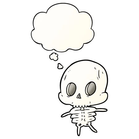 cartoon skeleton with thought bubble in smooth gradient style
