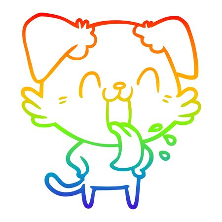 rainbow gradient line drawing of a cartoon panting dog  イラスト・ベクター素材