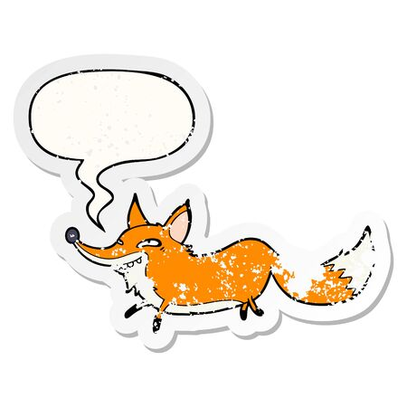 cute cartoon sly fox with speech bubble distressed distressed old sticker Illustration