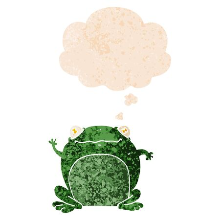 cartoon frog with thought bubble in grunge distressed retro textured style Çizim