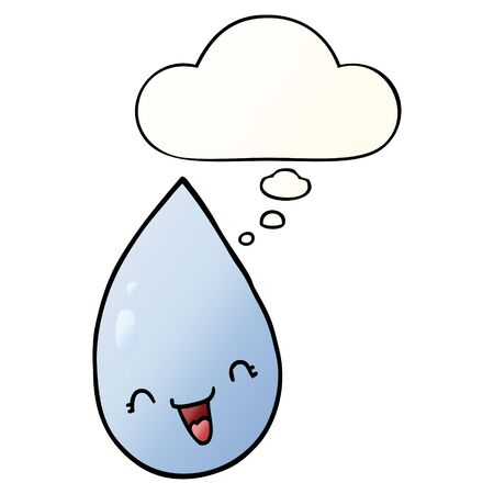 cartoon raindrop with thought bubble in smooth gradient style Ilustração