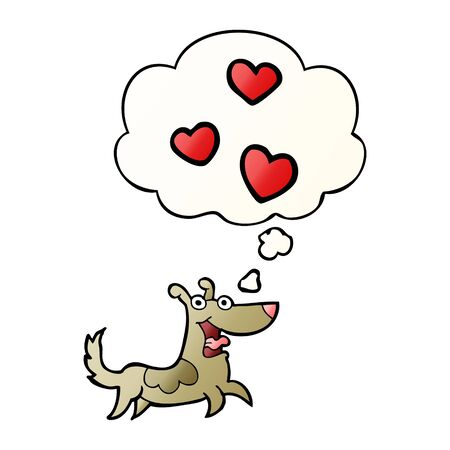 cartoon dog with love hearts with thought bubble in smooth gradient style