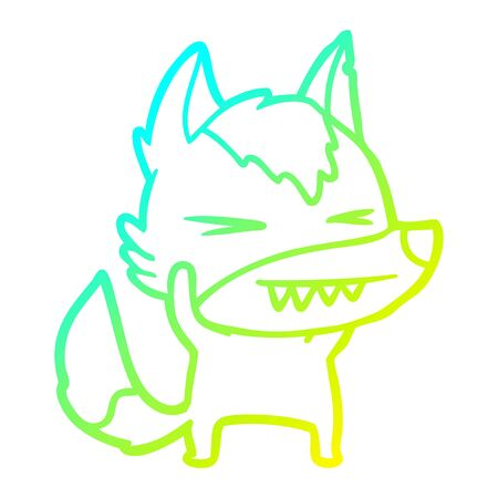 cold gradient line drawing of a angry wolf cartoon  イラスト・ベクター素材