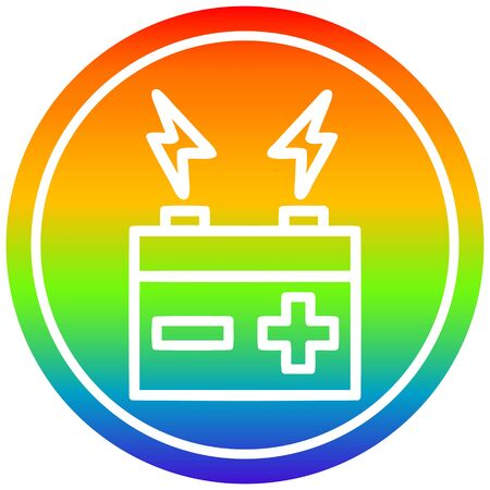 battery circular icon with rainbow gradient finish