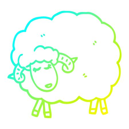 cold gradient line drawing of a cartoon black sheep Illustration