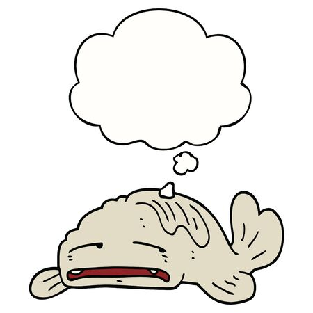 cartoon sad old fish with thought bubble