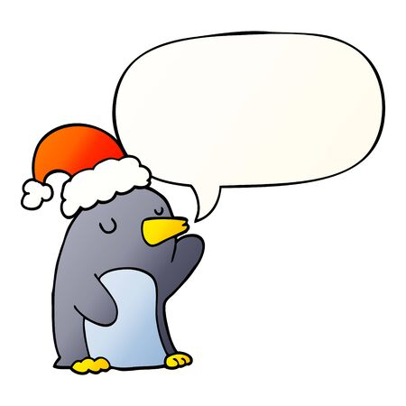 cute cartoon christmas penguin with speech bubble in smooth gradient style