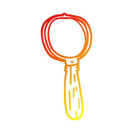 warm gradient line drawing of a cartoon magnifying glass