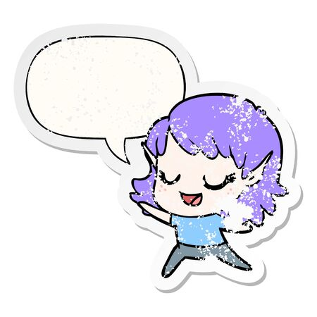 carton happy elf girl dancing with speech bubble distressed distressed old sticker