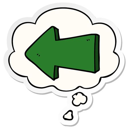 cartoon pointing arrow with thought bubble as a printed sticker