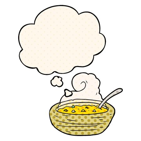 cartoon bowl of hot soup with thought bubble in comic book style Ilustração