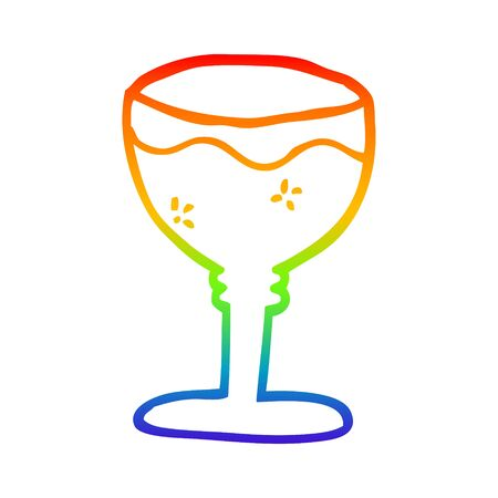 rainbow gradient line drawing of a cartoon red wine glass