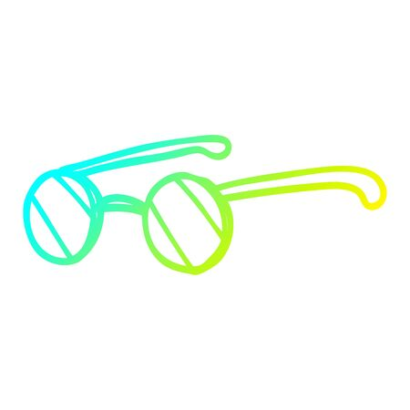 cold gradient line drawing of a cartoon round spectacles