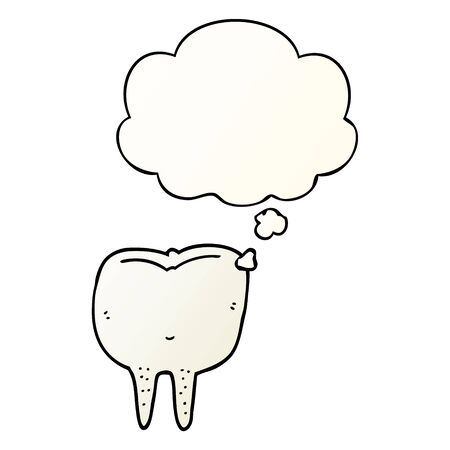 cartoon tooth with thought bubble in smooth gradient style Banco de Imagens - 128749911
