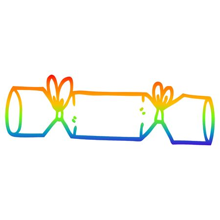 rainbow gradient line drawing of a cartoon cracker