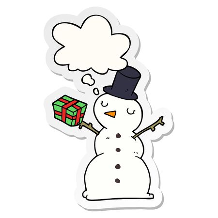 cartoon snowman with thought bubble as a printed sticker