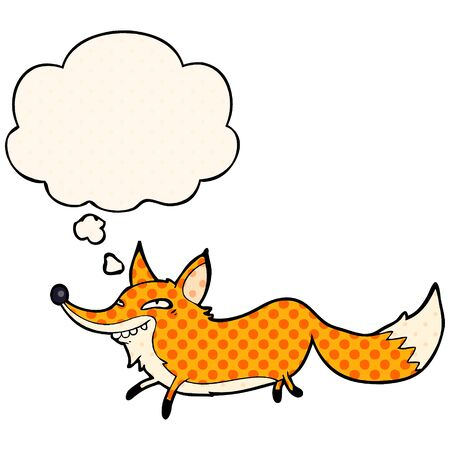 cartoon sly fox with thought bubble in comic book style