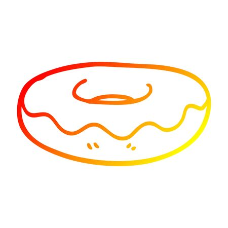 warm gradient line drawing of a cartoon iced donut