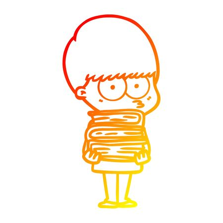warm gradient line drawing of a nervous cartoon boy carrying books