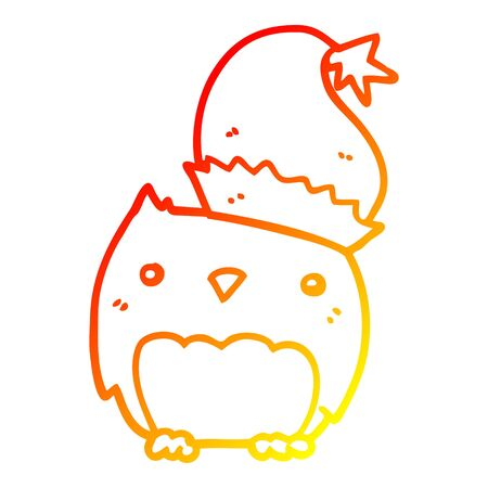 warm gradient line drawing of a cute christmas owl