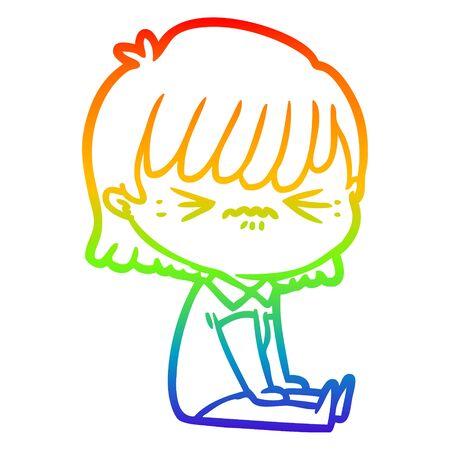 rainbow gradient line drawing of a annoyed cartoon girl sitting Illustration