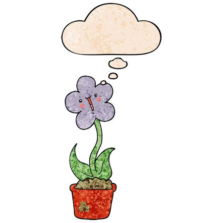 cute cartoon flower with thought bubble in grunge texture style Vetores