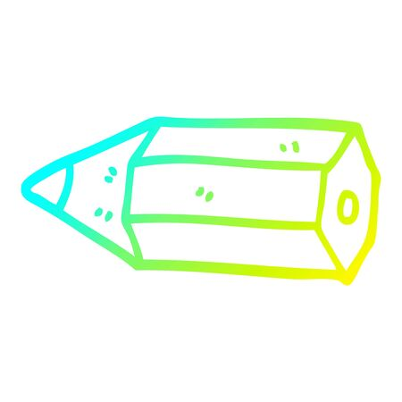 cold gradient line drawing of a cartoon coloring pencil