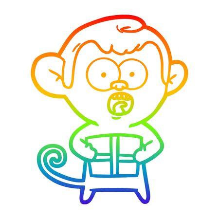 rainbow gradient line drawing of a cartoon shocked monkey